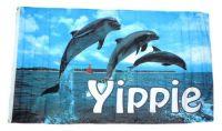 Fahne / Flagge Delfine Yippie 90 x 150 cm