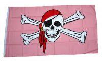 Fahne / Flagge Pirat Kopftuch Pink 90 x 150 cm