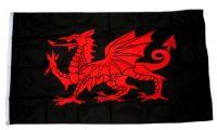 Fahne / Flagge Wales Drache schwarz 90 x 150 cm