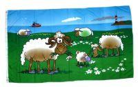 Fahne / Flagge Schafe an der Küste 90 x 150 cm