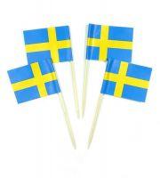 50 Minifahnen Dekopicker Schweden 30 x 40 mm