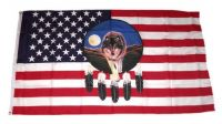 Fahne / Flagge USA - Wolf mit Feder 90 x 150 cm