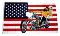Fahne / Flagge USA - Motorrad Chopper 90 x 150 cm