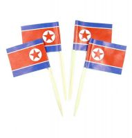 50 Minifahnen Dekopicker Nordkorea 30 x 40 mm
