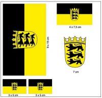 Fahnen Aufkleber Set Baden Württemberg