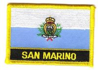 Fahnen Aufnäher San Marino Schrift