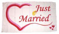 Fahne / Flagge Hochzeit Just Married 90 x 150 cm