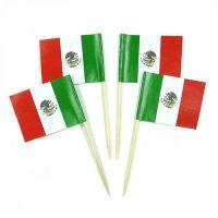 50 Minifahnen Dekopicker Mexiko 30 x 40 mm