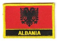 Fahnen Aufnäher Albanien Schrift