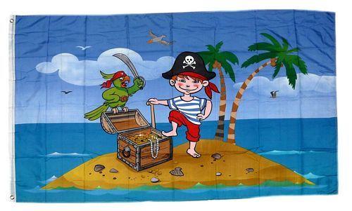 Fahne / Flagge Kinderpirat Schatzinsel 90 x 150 cm