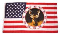 Fahne / Flagge USA - Hirsch 90 x 150 cm