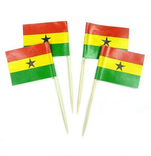 50 Minifahnen Dekopicker Ghana 30 x 40 mm