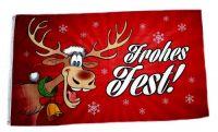 Fahne / Flagge Frohes Fest Elch Weihnachten rot 90 x 150 cm