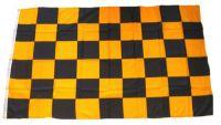 Fahne / Flagge Karo schwarz / gelb 90 x 150 cm