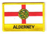 Fahnen Aufnäher Alderney Schrift