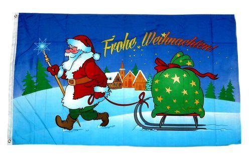 Fahne / Flagge Frohe Weihnachten Schlitten Stern 60 x 90 cm   Größe ...