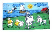 Fahne / Flagge Schafe & Kühe an der Küste 90 x 150 cm