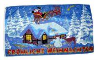 Fahne / Flagge Fröhliche Weihnachten Schlitten 60 x 90 cm