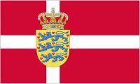 Flagge / Fahne Dänemark Wappen Hissflagge 90 x 150 cm