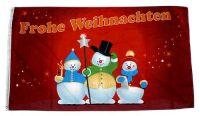 Fahne / Flagge Frohe Weihnachten Schneemänner 60 x 90 cm