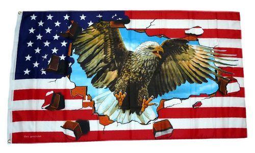 Fahne / Flagge USA - Adler Steine 90 x 150 cm