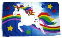 Fahne / Flagge Einhorn Regenbogen Sterne 90 x 150 cm