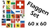 Flaggenset Schweiz 26 Kantone 60 x 60 cm