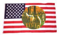 Fahne / Flagge USA - 3 Wölfe 90 x 150 cm