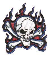 Aufnäher Patch Totenkopf Flammen