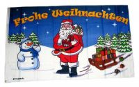 Fahne / Flagge Frohe Weihnachten Schneemann 90 x 150 cm