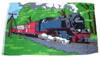 Fahne / Flagge Eisenbahn Dampflok 90 x 150 cm