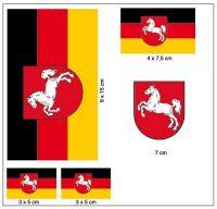 Fahnen Aufkleber Set Niedersachsen