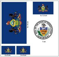 Fahnen Aufkleber Set USA - Pennsylvania