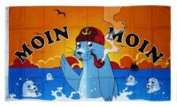 Fahne / Flagge Moin Moin Seehunde Pfeife 90 x 150 cm