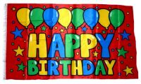 Fahne / Flagge Happy Birthday rot 90 x 150 cm