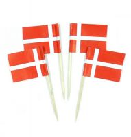 50 Minifahnen Dekopicker Dänemark 30 x 40 mm
