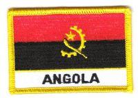 Fahnen Aufnäher Angola Schrift