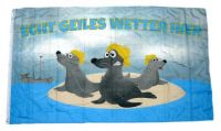 Fahne / Flagge Echt geiles Wetter hier Robben 90 x 150 cm