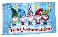 Fahne / Flagge Frohe Weihnachten Wichtel 90 x 150 cm