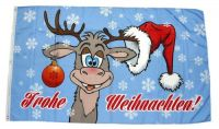 Fahne / Flagge Frohe Weihnachten Elch Kugel NEU 90 x 150 cm