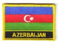 Fahnen Aufnäher Aserbaidschan Schrift